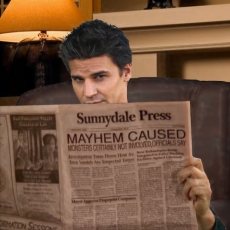 Scene 180: Angel Reading the Sunnydale Press: Mayhem!