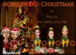 Bobblehead Christmas at Angel Investigations (Art by Lysa Whitmore)